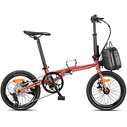 Bicicleta Plegable 16 Pulgada para Hombres y Mujeres, Bicicleta Retro de Ciudad con Frenos de Disco Dobles de Velocidad Variable para Trabajo Ligero con Canasta para Automóvil