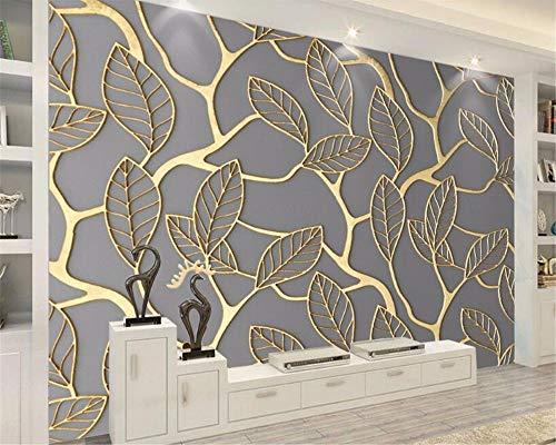 Wandbilder Silk Stoff-Tapete Der Dekorativen Malerei Der Modepersönlichkeit Goldene Dreidimensionale Blatthintergrundtapete-350X250Cm,Wandbild
