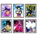 SSJ Super Saiyan de Ultra Blue Dragon Ball Goku Cell Colorido Anime Fan Art Collection Premium Canvas Art Prints para decoración de habitación de dormitorio, juego de 6, sin marco