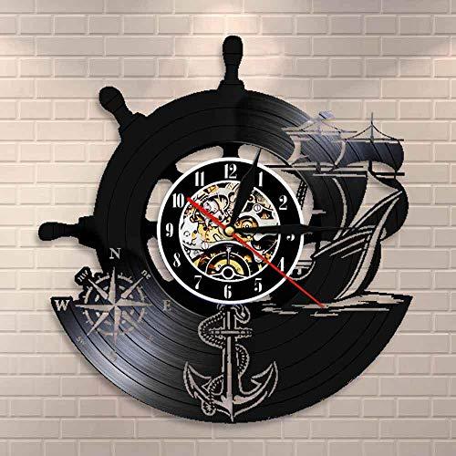 JKRFV Reloj de Pared de Vinilo Timón y Barco de Vela LED Record Reloj Retro del Vinilo de Estilo Antiguo Disco De Vinilo Reloj De Pared Decoración para El Hogar