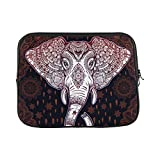 INTERESTPRINT Laptop Neoprene Sleeve Pouch Case Bag Beautiful Bohemian Elephant Paisley Water Resistant Carrying Case Cover 17 Inch 17.3 Inch