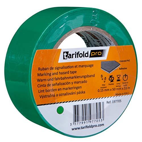 Tarifold 1 Cinta Adhesiva Suelo, Señalización, Seguridad, color Verde-Rollo 50mm x 33m, 50 mm x 33 M