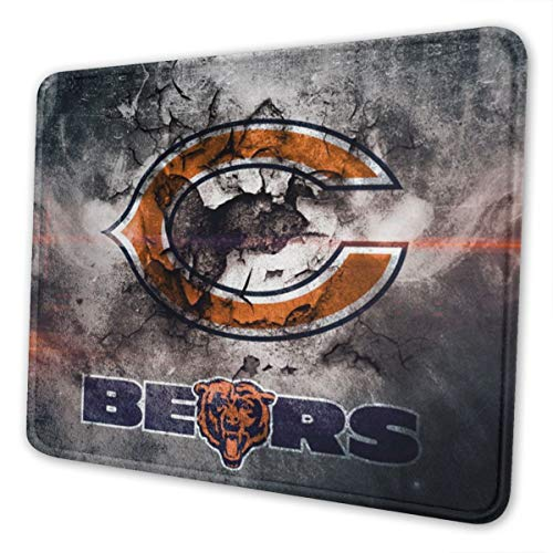 Etdai Upgraded Version Cloth Gaming Mouse Pad with Double Stitched Edge,Thick The Chicago Football Fans Bear Non-Slip Rubber Base Mouse Mat for Game,Players,Office,Study