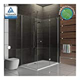 Duschabtrennung Eck Glasdusche Hochwertige Dusch mit Glasdveredelung - Trennwand ESG-Glas Wannenmaß 120x100x195