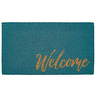 mDesign Rectangular Coir and Rubber Entryway Welcome Doormat with Natural Fibers for Indoor or Outdoor Use - Decorative Script Welcome Design - Turquoise/Natural