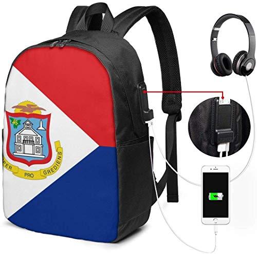 Unisex Rugzak met USB Opladen Poort Vlag van Sint Maarten Classic Mode Algemene Zakelijke Boekenkast