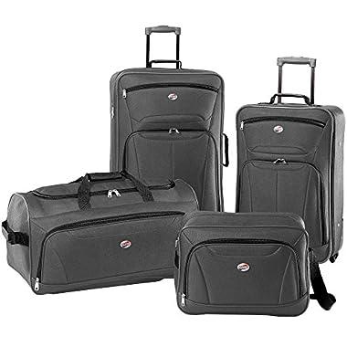 American Tourister Luggage Fieldbrook II 4 Piece Set (One Size, Charcoal)