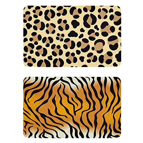 Naanle Imanes de nevera con estampado de leopardo, diseño de tigre de leopardo, juego de 2 imanes para armarios de cocina, cocina, gabinetes de oficina, lavadora, regalo decorativo