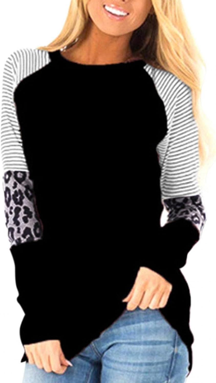 AODONG Womens Color Block Leopard Printed Tops Crew Neck Long Sleeve Sweatshirts Cheetah Print Shirts Casual Blouses