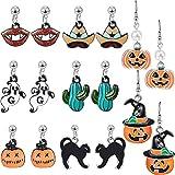 Hicarer 8 Paare Halloween Ohrringe Kürbis Schwarz Katze Geist Magier Hut Ohrringe, 8 Stile