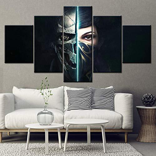 LVQIANHOME Leinwanddrucke Leinwand Wandkunst Wohnzimmer Wohnkultur 5 Stücke Dishonored 2 Spiel Maske Mädchen Tapete Gemälde Poster Rahmen-Rahmenlos