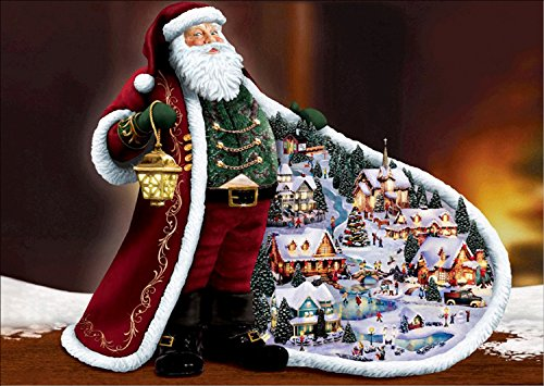 DIY 5D Diamond Painting Kit, Santa Claus Rhinestone Embroidery Cross Stitch Arts Craft for Christmas Canvas Wall Decor