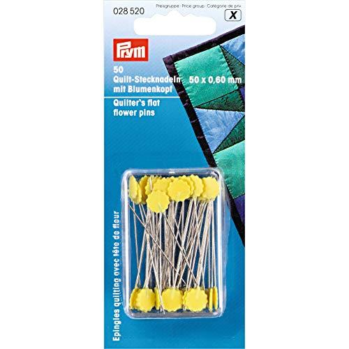 Prym Quilt-Stecknadeln mit Blumenkopf, Stahl, gelb, 50mm