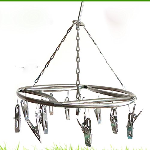 Lecent@Round Hollow Stainless Steel Laundry Drying Rack Hanger with 15/20 Clips For Drying Socks, Kids Clothes, Bra, Towel, Underwear, Hat, Scarf, Pants, Gloves (20 clips 7mm)