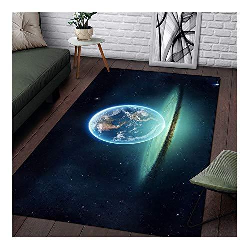 WGG 3D Planet Universum Teppich Wohnzimmer Teppichboden Schlafzimmer Bodenmatte Aero Teppiche Weiches Parlour Blau Teppiche Home Decor (Color : RUGTT6049, Tamaño : 91 cm X 152)