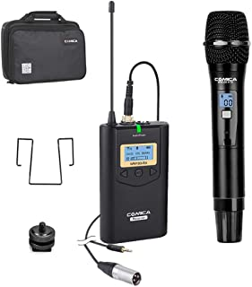 Wireless Microphone Comica CVM-WM100 H UHF 48 Channels Professional Omnidirectional Wireless Handheld Microphone System for Canon Nikon Sony Panasonic Fuji DSLR Camera,XLR Camcorder,Smartphones