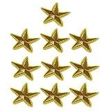 Magideal 10piezas hierro bordado parches apliques de oro estrella sobre bolsa para DIY artesanía coser en insignias de ropa camiseta de gorro de decoración