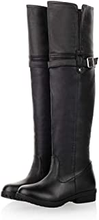 DecoStain Women's Metal Buckle Stripe Round Toe Low Heel Over The Knee Boots Ladies Classic Cool Shoes