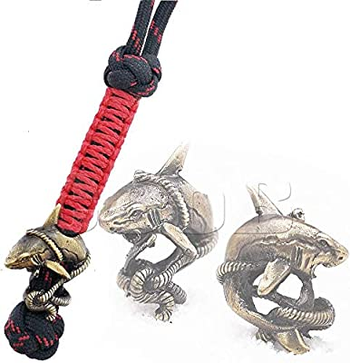 Awesome EDC Paracord Knife Lanyard Shark Fish with Metal Hand Casted Paracord Bead Beads, Charms for Paracord Lanyards for Knives (Shark Bronze)