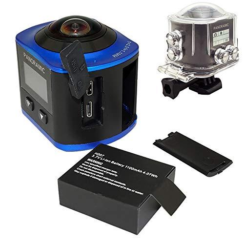 QOUP 4K XDV 360 Grados VR WiFi acción de la cámara, 16MP DVR Grados de ángulo Ancho panorámico Impermeable Deportes cámara del Registrador,Azul