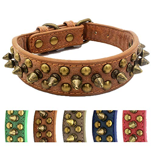 Anti-bite Spiked Studded Dog Collar Adjustable Stylish Leather Dog Collar for Puppy Small Medium and Large Dogs (Retro Brown,S) Collar para perro con tachuelas y púas Anti-mordida