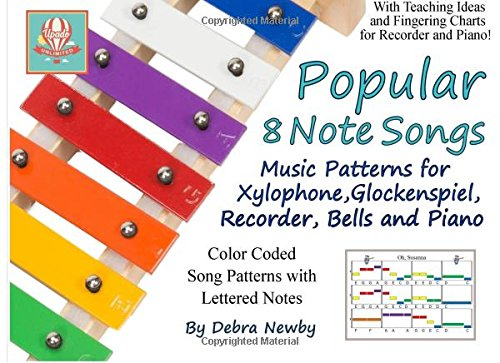 Popular 8 Note Songs: Music Patterns for Xylophone, Glockenspiel, Recorder, Bells and Piano (Volume 1)