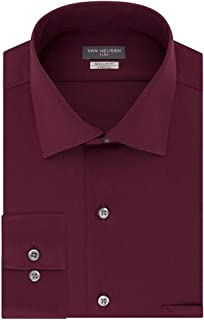 Van Heusen Men's Classic-Fit Wrinkle Free Flex Collar Stretch Solid Dress Shirt Mulberry 15 32/33