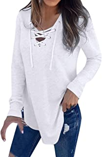 Swyss Women Casual Deep V Neck Blouse Lace up Long Sleeve Loose Tops T-Shirt
