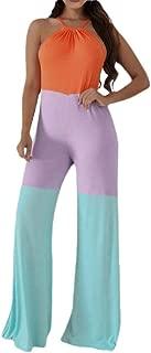 Mogogo Women's Halter Fashion Hit Color Lounge Wide Leg Office Jumpsuit