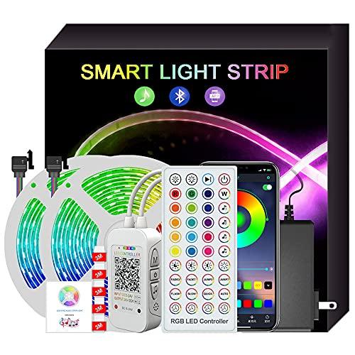 Tira de luces led para el dormitorio, control remoto inteligente Bluetooth App 43 teclas Go, sincronización de música, luces led para la fiesta, la cocina, el escritorio-15m