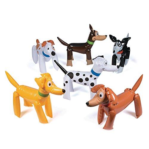 Hunde aufblasbar 6 Stück Partydekoration Mottoparty Kindergeburtstag Partydeko mit Palandi® Sticker