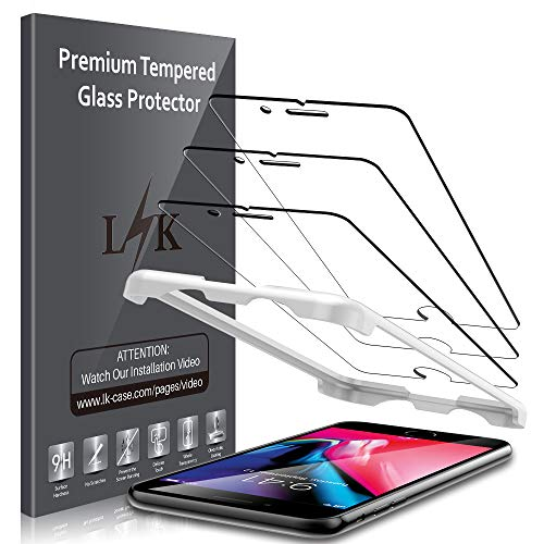 LK (3 Pack) Screen Protector for iPhone 7 and iPhone 8 Tempered Glass (Easy Installation Tray) Case Friendly, 9H Hardness HD Clear, Bubble Free