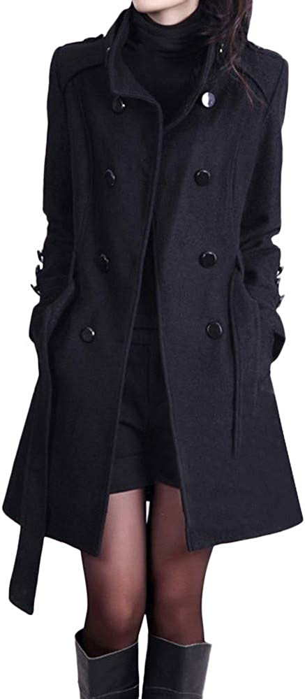 Womens Winter Casual Lapel Wool Blend Double Breasted Pea Coat Trench Coat Winter Trench Jacket with Belt