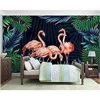 Iusasdz 写真壁紙壁画北欧小さな新鮮な熱帯雨林バナナの葉フラミンゴ背景壁3D壁紙A-400X280Cm