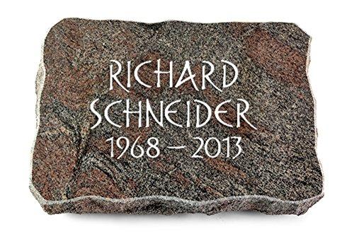 MEMORUM Grabmale Grabplatte, Grabstein, Grabkissen, Urnengrabstein, Liegegrabstein Modell Pure 40 x 30 x 5 cm Paradiso-Granit, poliert inkl. Gravur (Ohne Ornament)