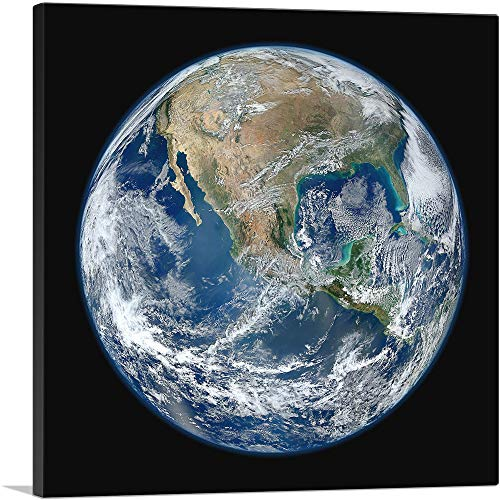 ARTCANVAS View from Space Earth North America USA Planet Earth Canvas Art...