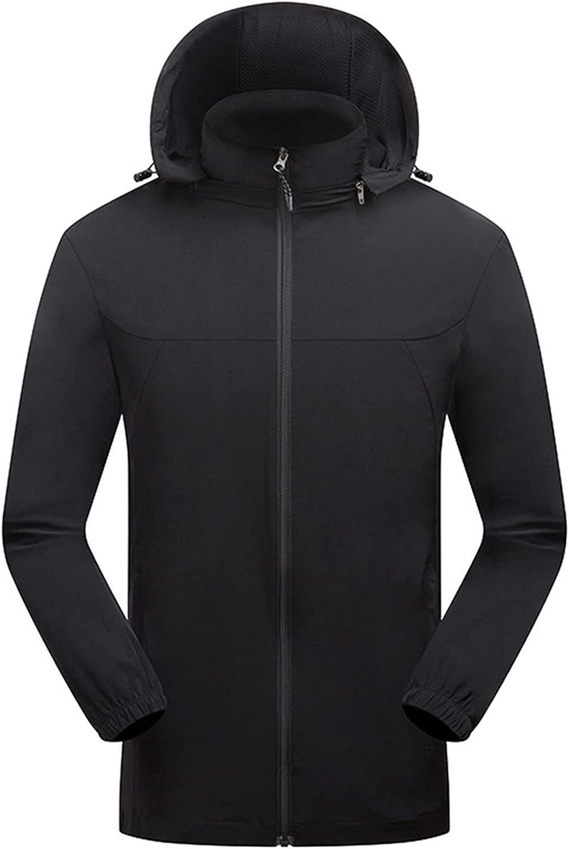 Men's Windbreaker Waterproof Breathable Hooded Trench Coats Thin Rain Jacket Lightweight Outdoor Travel Jacket Plus Size