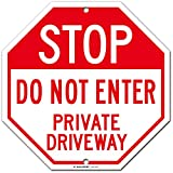 """Stop Private Driveway Do Not Enter Warning Sign, Octagon Shaped, 11"""" x 11"""" Industrial Grade Aluminum, Easy Mounting, Rust-Free/Fade Resistance, Indoor/Outdoor, USA Made by MY SIGN CENTER"""