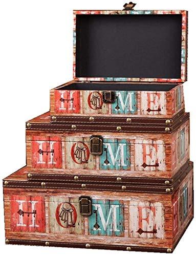 LHSUNTA Cajas de Almacenamiento de Madera Maleta de Almacenamiento Juego de 3 cofres de Almacenamiento Retro Organizador de Joyas de Estilo Vintage apilable Caja de Madera Decorativa (Colo