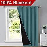 NICETOWN 100% Blackout Patio Sliding Door Curtain, Wide Lined Drape, Keep Warm Drapery, Sliding Glass Door Panel for Night Shift(Sea Teal, 1 Panel, 70 inches Wide x 84 inches Long