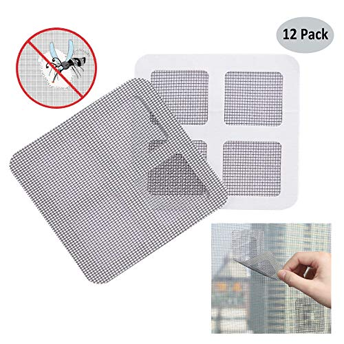 Window and Door Screen Repair Kit - Fiberglass Screen Repair Patches, Strong Adhesive Screen Repair Stickers Mesh Film Ideal for Fixing Small Holes and Tears, 4' x 4', Gray, 12 Pack