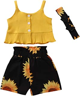 Honykids Toddler Baby Girl Outfits Summer Ruffle Halter Button Top Short Pants Clothes Set