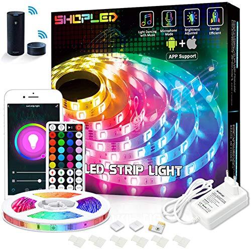 Striscia LED, SHOPLED Smart WiFi LED Striscia 5M controllata da App e RF Telecomando, RGB 5050 Scolorimento LED Strisce Sincronizza con Musica, LED Luci per Casa Festival Decorazione