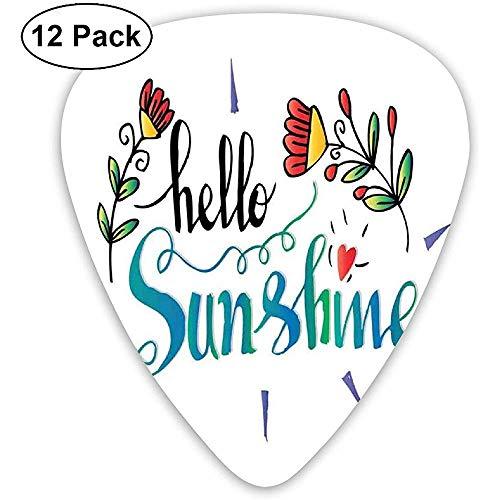 Gitaar Picks 12-Pack, Doodle Effect Gemengde Kleurplaten Hallo Sunshine Hand-Tekening Lettering Met Bloemen