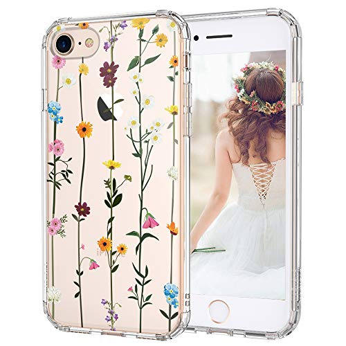 MOSNOVO iPhone SE 2020 Case, iPhone 8 Case, iPhone 7 Clear Case, Wildflower Floral Clear Design Printed Hard Back Phone Case with TPU Bumper Case Cover for iPhone 7 / iPhone 8 / iPhone SE 2020