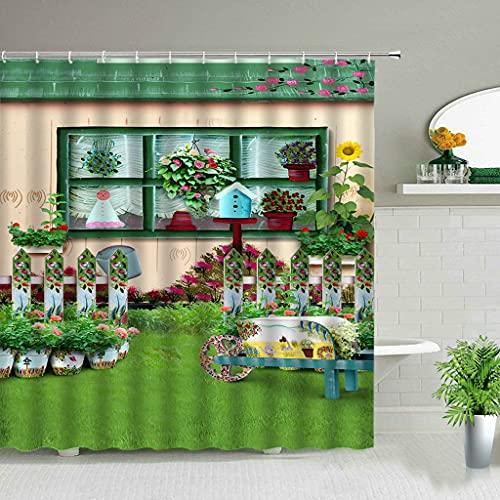 PKJUH Cortina de la duchaFlores Primavera cenário banheiro Conjunto Cortina de chuveiro RUA Vermelho Rosa Flor Retro Design decoração da Parede do jardim Cortinas penduradas