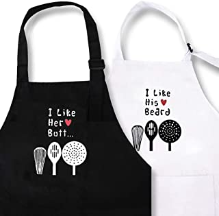 KMCH I Like His Beard I Like Her Butt Heart Design Couples Kitchen Aprons Funny Cooking Bibs Gifts for Wedding Newlyweds H...