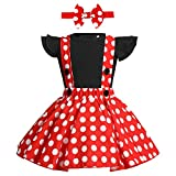 ODASDO Baby Girl Suspender Dress Set Ruffle Sleeve Romper Top + Red Polka Dots Overall Strap Tutu Skirt + Bowknot Headband 3pcs First Birthday Cake Smash Outfit Party Casual Daily Wear Black 12-18M