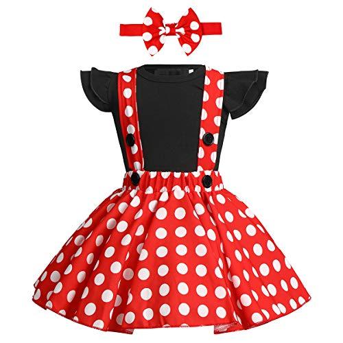 FYMNSI Bebé Niña Vestido de Lunares Primera Fiesta de Cumpleaños Ropa Body de Mameluco de Manga Corta de Algodón Falda de Tirantes Diadema de Bowknot Set para Navidad Carnaval Halloween Negro 0-6M