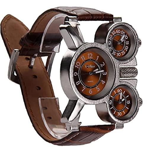 Hainice Reloj multitímeno Tres diales analógicas Reloj de Zona horaria Manos Luminosas y diseño de Correa de Cuero cómodo (Marrón 1 Paquete)